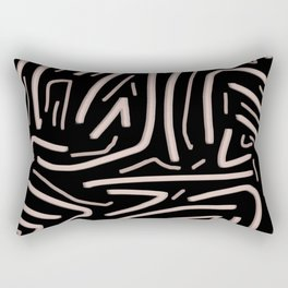 Pink abstract stripes with black background Rectangular Pillow