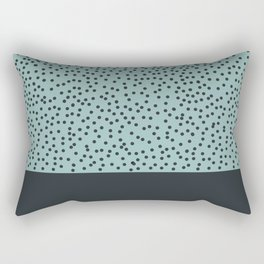 Dark navy dots on turquoise Rectangular Pillow