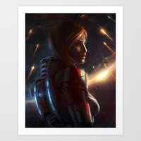 mass effect Art Prints featuring Mass Effect - Commander Shepard by therealmcgee