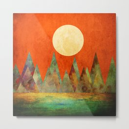 Many Moons Ago, Abstract Landscape Art Metal Print