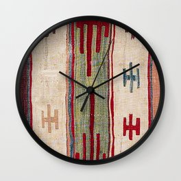 Arcade Star Kilim // 17th Century Colorful Muted Lime Green Southwest Cowboy Ornate Accent Pattern Wall Clock