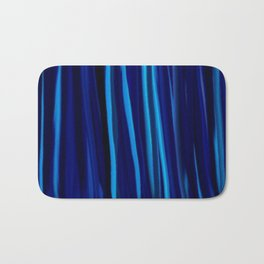 Stripes  - Ocean blues and black Bath Mat