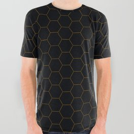 Black with fine line gold hexagon pattern All Over Graphic Tee