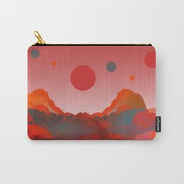 """Coral Pink Sci-Fi Mountains"" Carry-All Pouch"
