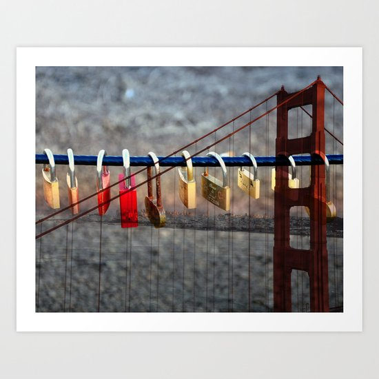 LOVE LOCKED - GOLDEN GATE BRIDGE Art Print