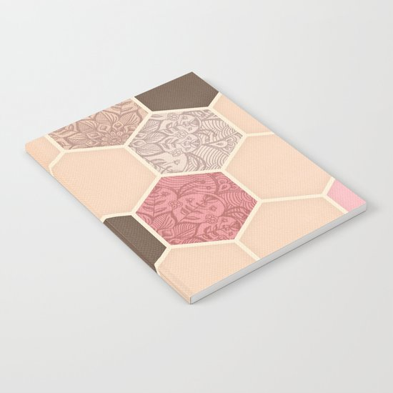 Caramel, Cocoa, Strawberry & Cream Hexagon & Doodle Pattern Notebook