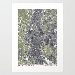 Madrid city map engraving Art Print