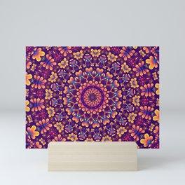 Vibrant Purple Orange Floral Mandala Mini Art Print