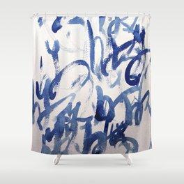 Kyu, japanese calligraphy inspired aquarell painting Shower Curtain