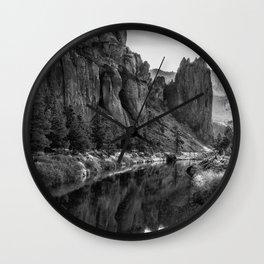 Smith Rock Morning Glow bw Wall Clock