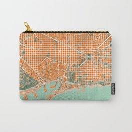 Barcelona city map orange Carry-All Pouch