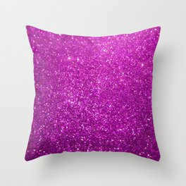 Purple Glitter Shiny Sparkley Throw Pillow