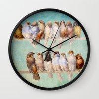 birds Wall Clocks featuring Birds Birds Birds by Diogo Verissimo