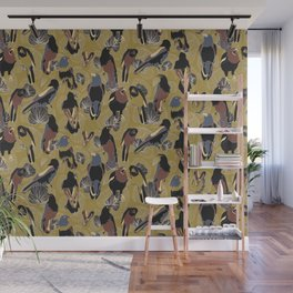 Birds of Prey in Gold Wall Mural