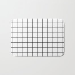 Grid Simple Line White Minimalist Bath Mat