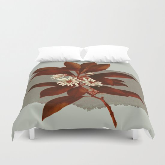 branch and flowers on grey paper Duvet Cover
