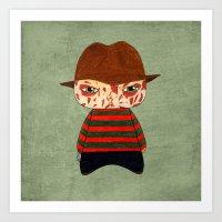 freddy krueger Art Prints featuring A Boy - Freddy Krueger by Christophe Chiozzi