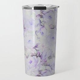 Vintage lavender gray botanical roses floral Travel Mug