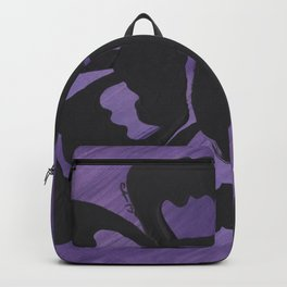 Purple Striped Rose Silhouette Art Design by Christina Appling Backpack