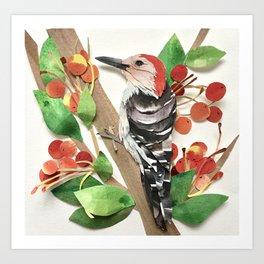 Cranapple Woodpecker Art Print