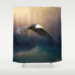Painting flying american bald eagle Shower Curtain