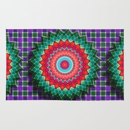 Plaid Flower Rug