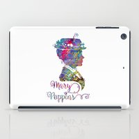 mary poppins iPad Cases featuring Mary Poppins Portrait Silhouette by Bitter Moon