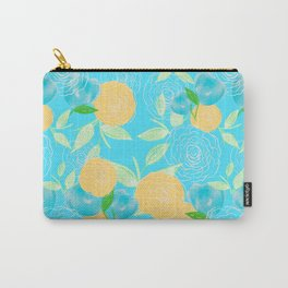 06 Yellow Blooms on Blue Carry-All Pouch