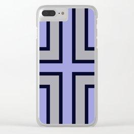 Blue, grey geometric pattern. Clear iPhone Case