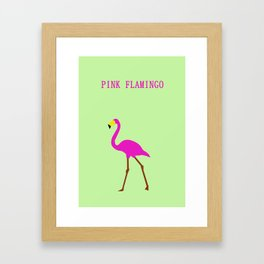 Pink flamingo in Green background Framed Art Print