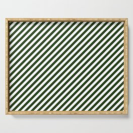 Small Dark Forest Green and White Candy Cane Stripes Serving Tray
