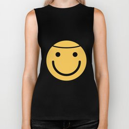 Smiley Face   Halo Holy Smiling Face Biker Tank