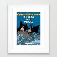 tintin Framed Art Prints featuring Le Cargo de la Méduse by Mouah