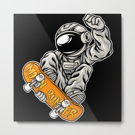 Astronaut skating awesome cosmonaut gifts Metal Print