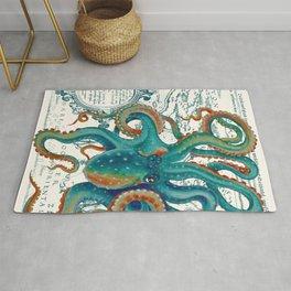 Teal Octopus Vintage Map Watercolor Rug