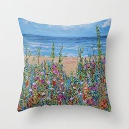 Summer Beach, Impressionism Seascape Throw Pillow