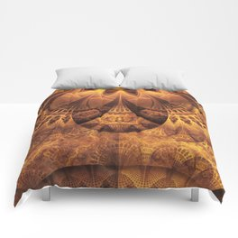 Beautiful Gold and Brown Honeycomb Fractal BeeHive Comforters
