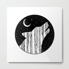 Woodland Night Wolf Metal Print