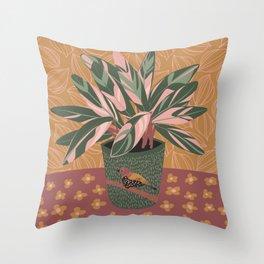 Stromanthe Triostar Houseplant Throw Pillow