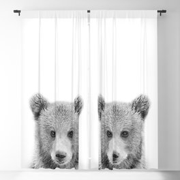 Baby Bear Black & White, Woodland Nursery Decor, Baby Animals Art Print by Synplus Blackout Curtain