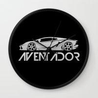 lamborghini Wall Clocks featuring Lamborghini Aventador - silver - by Vehicle