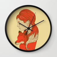lady Wall Clocks featuring Lady Fox by Huebucket