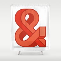 ampersand Shower Curtains featuring Ampersand by Damien Faivre