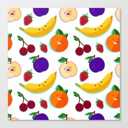 happy fruits and berries Canvas Print