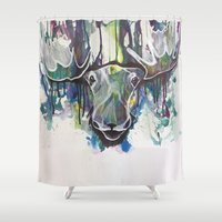 moose Shower Curtains featuring Moose by Halfmoon Industries