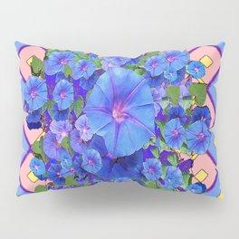 Blue Diamond Patterns Morning Glories Art Pillow Sham
