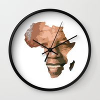 mandela Wall Clocks featuring MANDELA by El Pigro