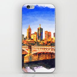 Melbourne Skyline, Princess Bridge And Yarra River At Sunset iPhone Skin