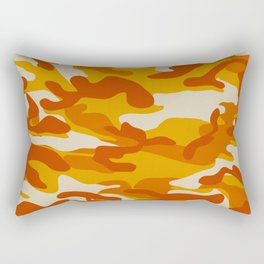 Orange Military Camouflage Pattern Rectangular Pillow