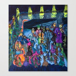 Let's dance tonight, the streetmusicians play in the big ballroom under the bridge Canvas Print